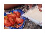 Improvised greek salad on the beach