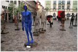 The blue man.