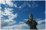 Heroic statue of flying ace,Bardufoss