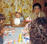 Son Dusty  Wearing His Cake  ONe His First  Birthday ( WIth 83 y/o Gramma Dodge )