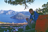 Kelty Kid  Norm Cooking With View Of Crater Lake