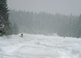 Riding Snowmobiles On  Airstrip  Near Lake Wenatchee