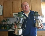 Coleman Collector  Dick Morgan  WIth A Few Of HIs Many  Lanterns