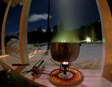 Making Dinner With  MSR Firefly Stove  Under A Full Moon