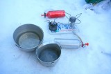 Winter Cooking With MSR 70's Model G And Early 80's Firefly Plus Old License Plate