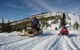 Snowmobiles Heading Out  ( Note Big Hill In Background )