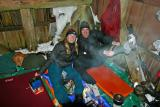Tiff and James  enjoy warm shelter and dry socks!!