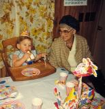 Gramma Dodge and Dusty  on his first birthday ( Dec. 1982)