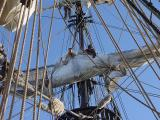 Stowing the sails