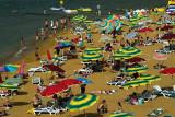 Crowded beach at Ramla Bay, Gozo Island