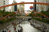 The revitalised Cheonggyecheon Stream in central Seoul
