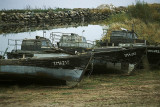 Boats pulled up on the lakeshore at an Old Believer village just inside Estonia