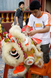 Repairing a lion dance costume