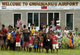 Children gathered at Auki airstrip