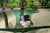 Tourist in a hammock, Malaita
