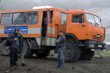6-wheel-drive excursion truck at the Avachinsky Volcano base camp
