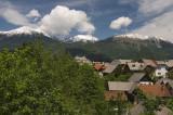 Mountain views from Radovljica, Triglav (2864m) at left