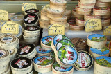 Camembert cheeses at the market