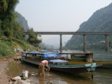 Bridge across Nam Ou; Riverside is just visible in the distance