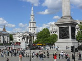 Another view of Trafalgar Sqaure with St-Martin-in-Fields church tower in the background