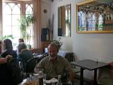 Jim enjoys bangars & fries at The Blue Posts Pub on Rupert Street