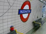 Paddington the Bear waits for Lynda to take him home for Ella at Paddington Station