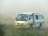 A matatu on the road to Mombasa - lots of construction, very dusty!