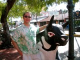 Posing with the bull at La Parrilla