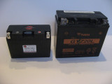 Shorai 18 amp hour next to GL1800 Gold Wing battery