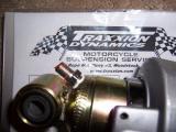 Schrader valve installed on shock
