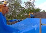 THE BLUE TARP IS POSITIONED ON THE ROOF