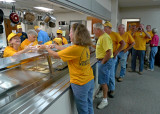THE FEEDING OPERATION MOVED FROM THE OLD K-MART PARKING LOT TO THE FIRST BAPTIST CHURCH OF BAYTOWN