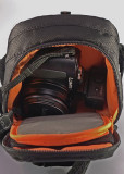 THE LX5 CAMERA, WITH OPTIONAL EVF,  IN A LOWEPRO APEX 60AW CASE