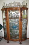 China Cabinet, mirror back, plate glass shelves