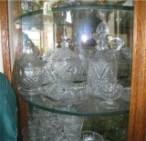 A side view of one shelf of our China Cabinet