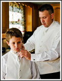 Father and Son Don Whites in the Kitchen