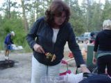 Lynda making up the kabobs for our dinner !!!