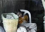 Yangon, tired vendor