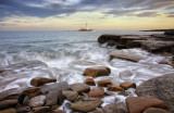 St Mary's Lighthouse - West Bay on a High Spring Tide