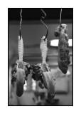 Meat on hooks, wet market, Macau