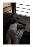 Joseph sleeping on train, Rajasthan