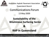 AAPA Q Communications  Forum - May 2009