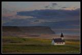 Breidavik Church in midnight light, Iceland
