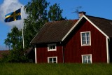Swedish house with a flag