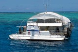 The pontoon and glass bottom boat