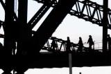 Preparing to walk up the bridge