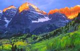 Alpenglow on Maroon Bells, Aspen, CO