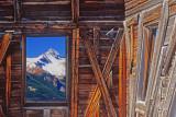 Mt Wilson through an abandoned mining building window, Alta, CO