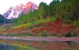 Pastel pink sunrise, Maroon Bells, Aspen, CO