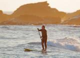 Mavericks Sunset With Paddlesurfer